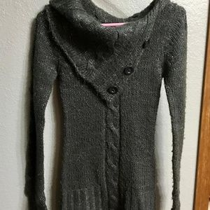 Wet Seal Button Neck Cowl Sweater